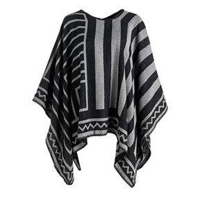 Coco + Carmen Nazca Blanket Poncho - Black/Gray