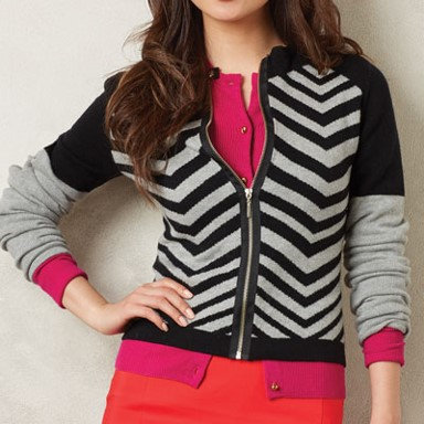 Coco + Carmen Soledad Color Block Zip Cardigan - Chevron