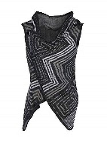 Coco + Carmen Button Shoulder Vest - Black/Gray
