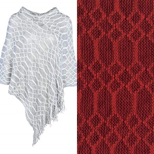 Coco + Carmen Honeycomb Poncho - Red