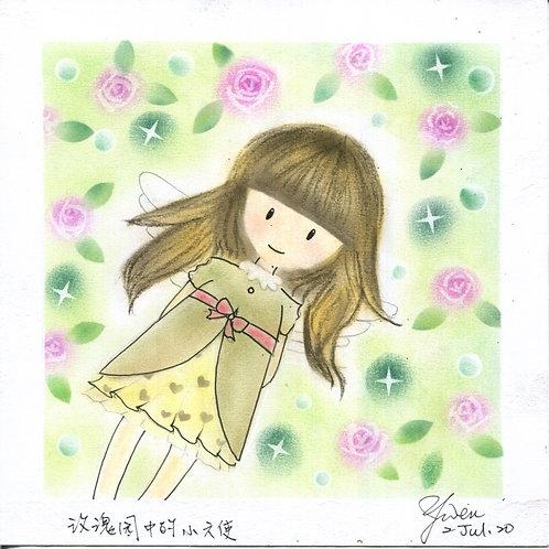 Angel in the rose garden...By Teacher Kuo Yun Wen