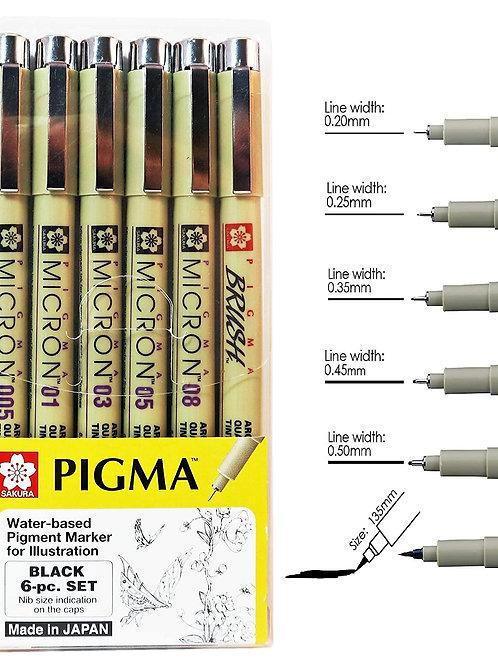 Sakura Pigma Micron 6 Pcs drawing pen set, black