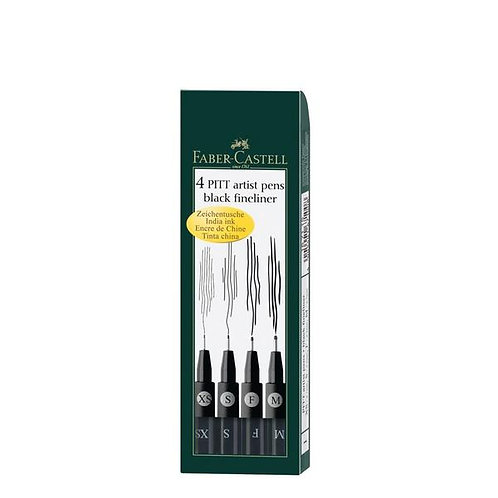 Faber-Castell Pitt Artist Pen India ink pen, wallet of 4, black