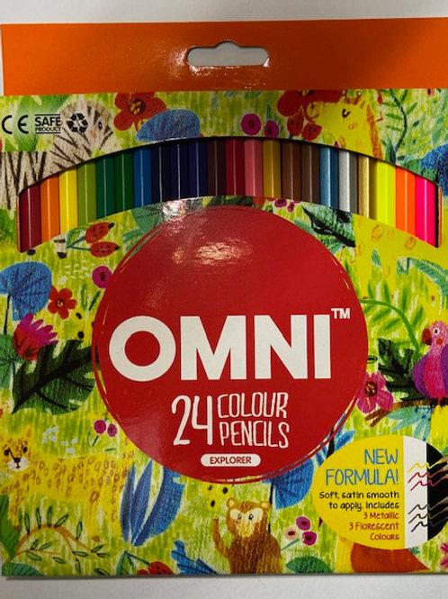 Omni Explorer 24 Colour Pencil Metallic Fluorescent