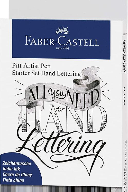 Faber-Castell Pitt Artist Pen Handlettering, 8-Pieces Black