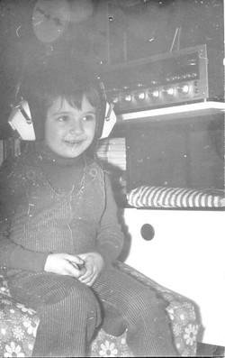 with his grandpa's headphones