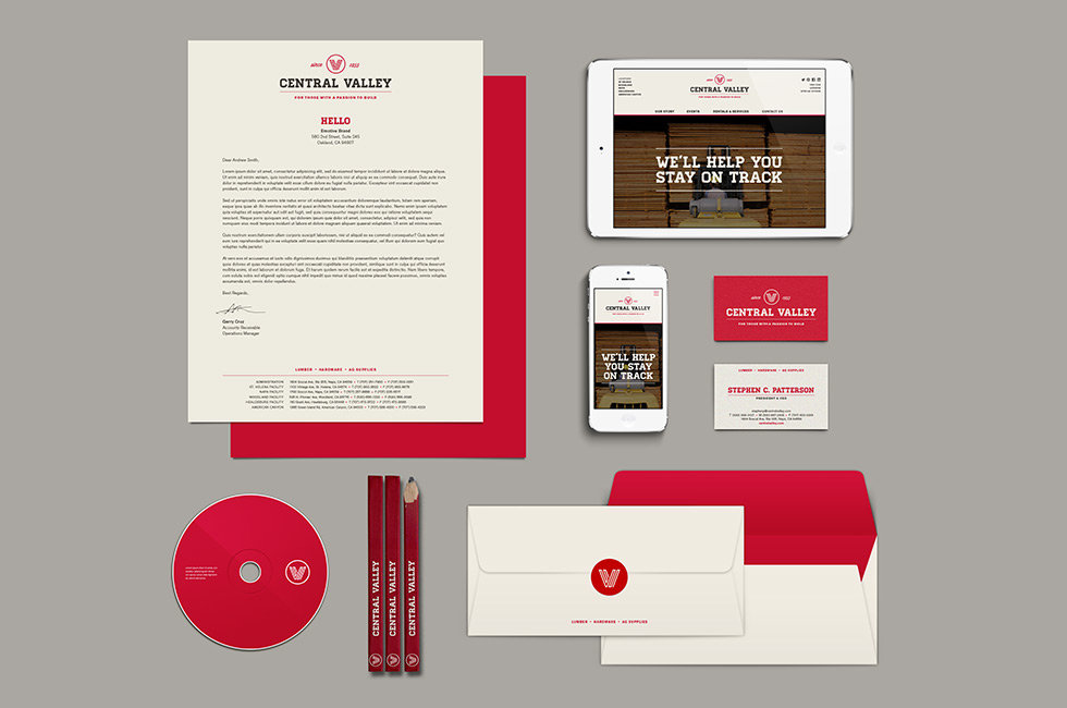Central Valley brand collateral stationery