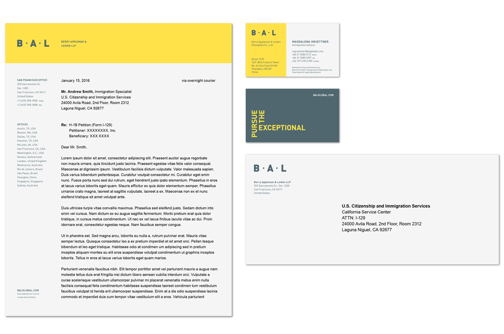 BAL identity design stationery collateral