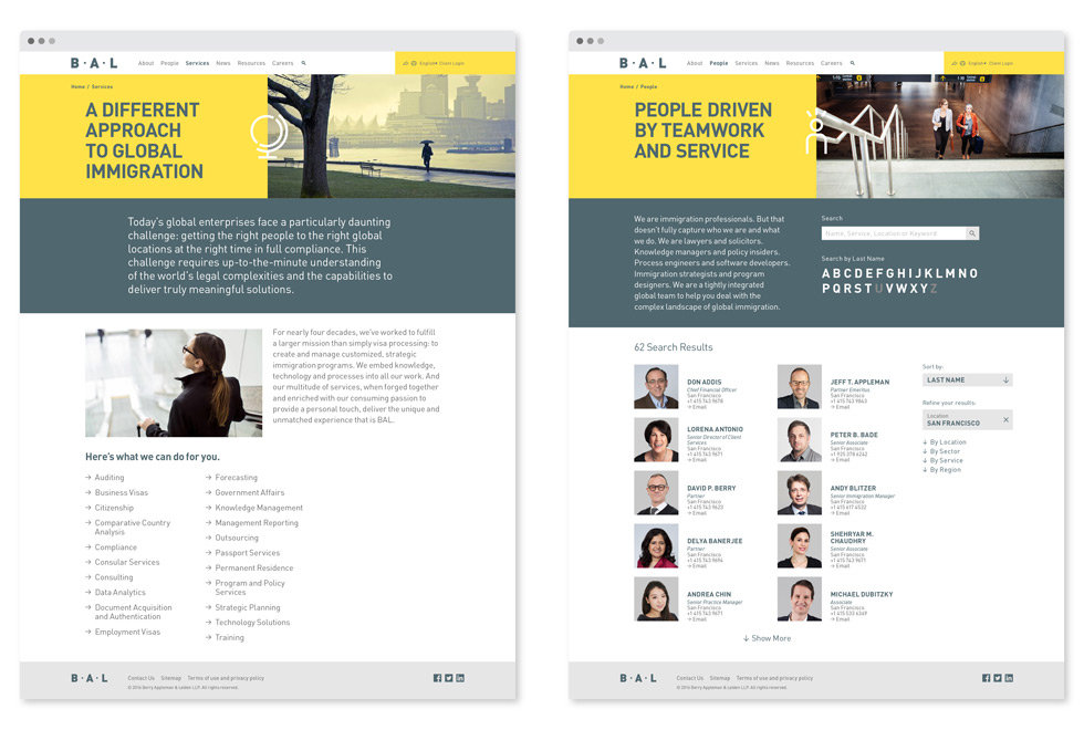 BAL website design