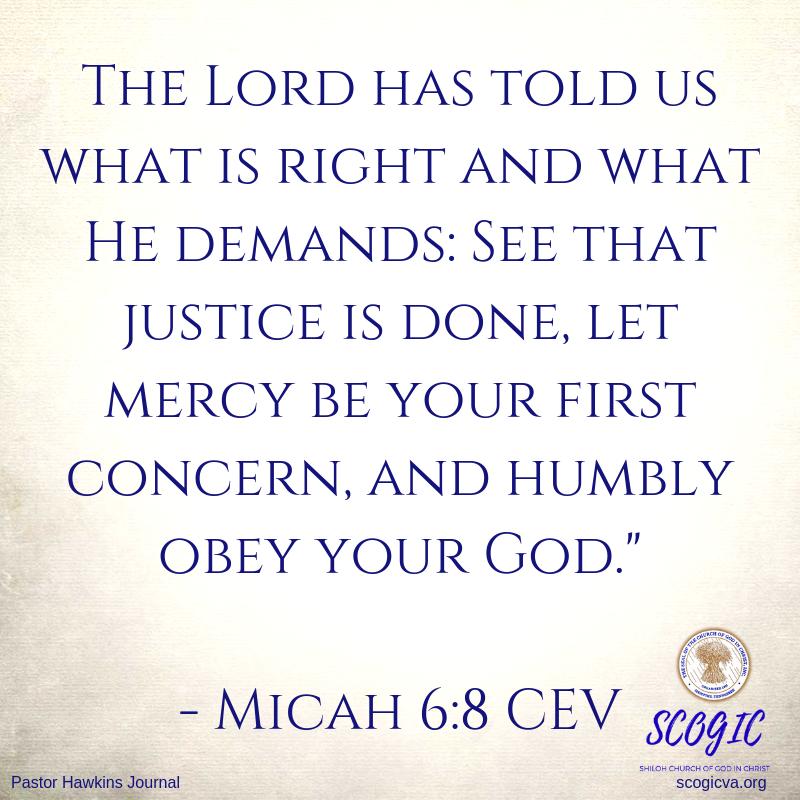 scogicva.org Pastor Hawkins Journal Verse Micah 6:8