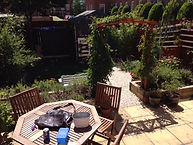 Mediterranean Themed Garden, Lavender, Passon Flower, Woodn Table, Patio, Blue Shed