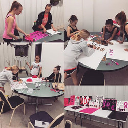 The kids were busy all week making team spirit posters for our _Pink in the Rink_ performance! #gett
