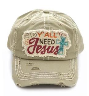 Khaki Y'all Need Jesus Cap