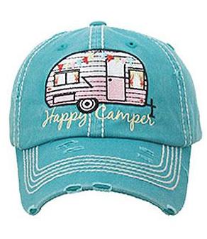 Turquoise Happy Camper Cap