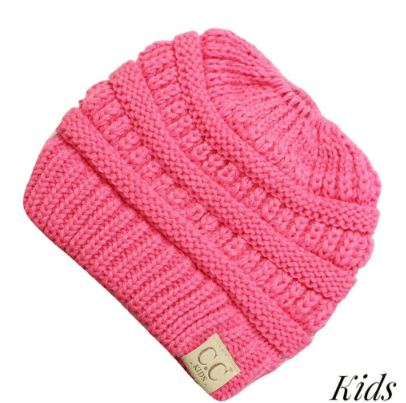 C.C. Beanie New Candy Pink Messy Bun Kids