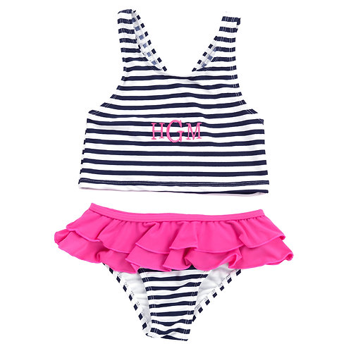 Kid's Summer Navy Prep Stripe Swimsuit Set