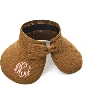Coffee Roll Up Striped Visor with Bow