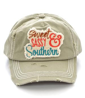 Khaki Sweet Sassy Southern Ballcap