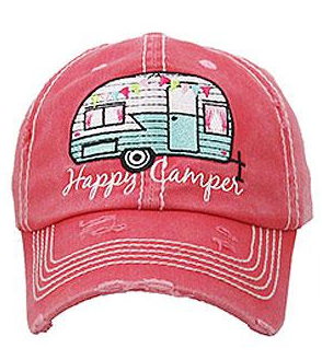 Coral Happy Camper Cap