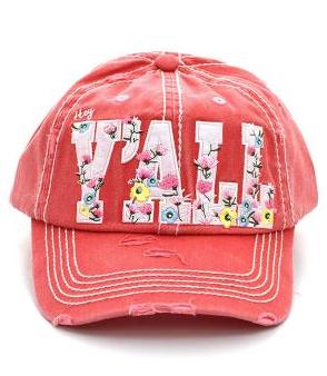 Coral Hey Y'all Floral Cap
