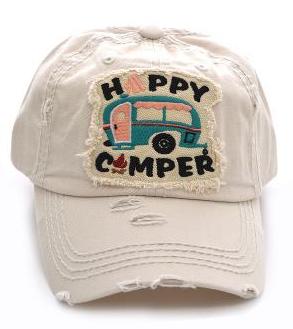 Beige Happy Camper Patch  Cap