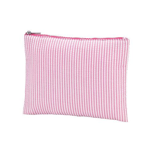 Pink Seersucker Zip Pouch