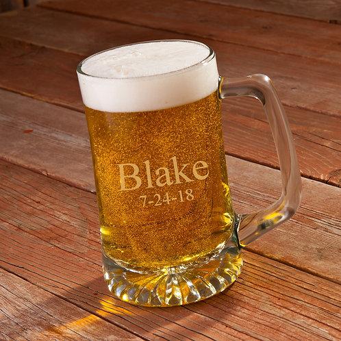 Personalized 25 oz. Heavy Glass Beer Mug