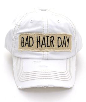 White Bad Hair Day Cap