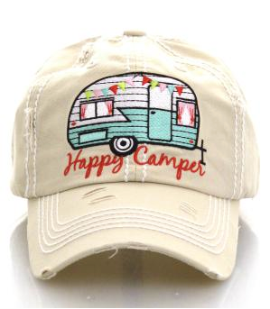 Beige Happy Camper Cap