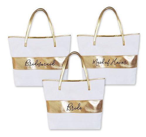 Bridal Party Gold Stripe Bag