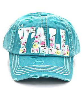 Turquoise Hey Y'all Floral Cap