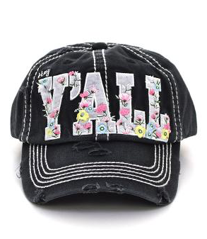 Black Hey Y'all Floral Cap