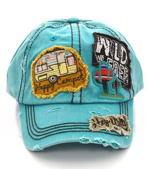 Turquoise Happy Camper Patched Cap