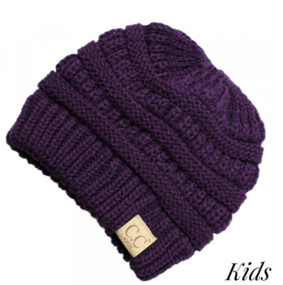 C.C. Beanie Purple Messy Bun Kids