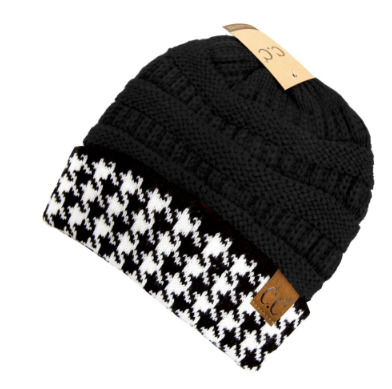 C.C. Houndstooth Black Ribbed Beanie