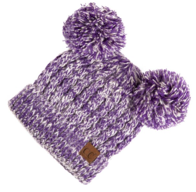 Purple C.C. Beanie Double Pom