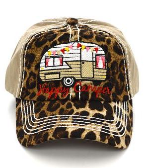 Cheetah Beige Happy Camper Cap