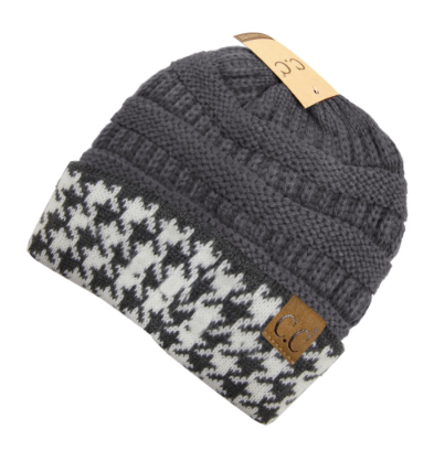 C.C. Houndstooth Gray Ribbed Beanie