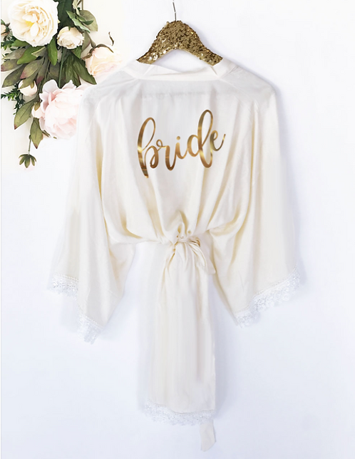 Bridal Party Monogram Cotton Lace Robes