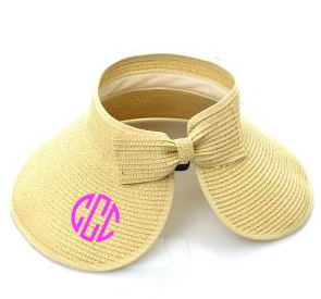 Beige Roll Up Striped Visor with Bow