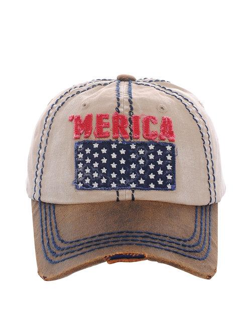 Khaki 'Merica Star Cap