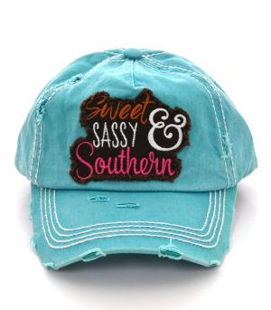 Turquoise Sweet Sassy Southern Ballcap