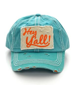 Turquoise Hey Y'all Cap