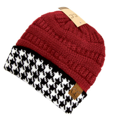 C.C. Houndstooth Crimson Ribbed Beanie