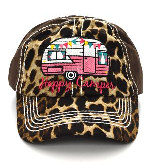 Cheetah Pink Happy Camper Cap