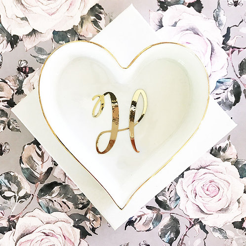 Script Heart Shaped Ring Dish