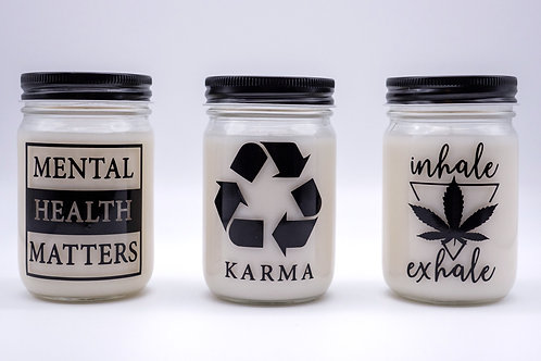Coconut Wax Candles in Mason Jars with Statement Designs