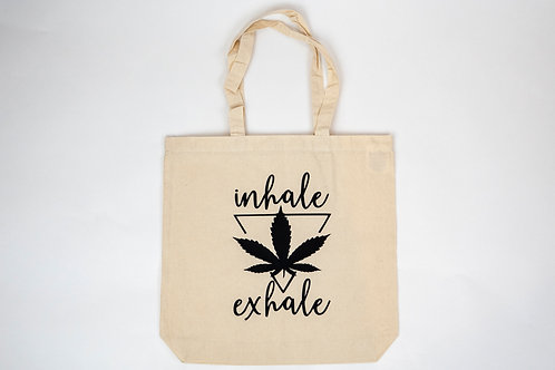 100% recycled cotton tote bag with cannabis design
