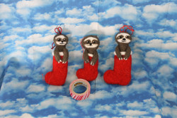 Sloths in Stockings Ornaments