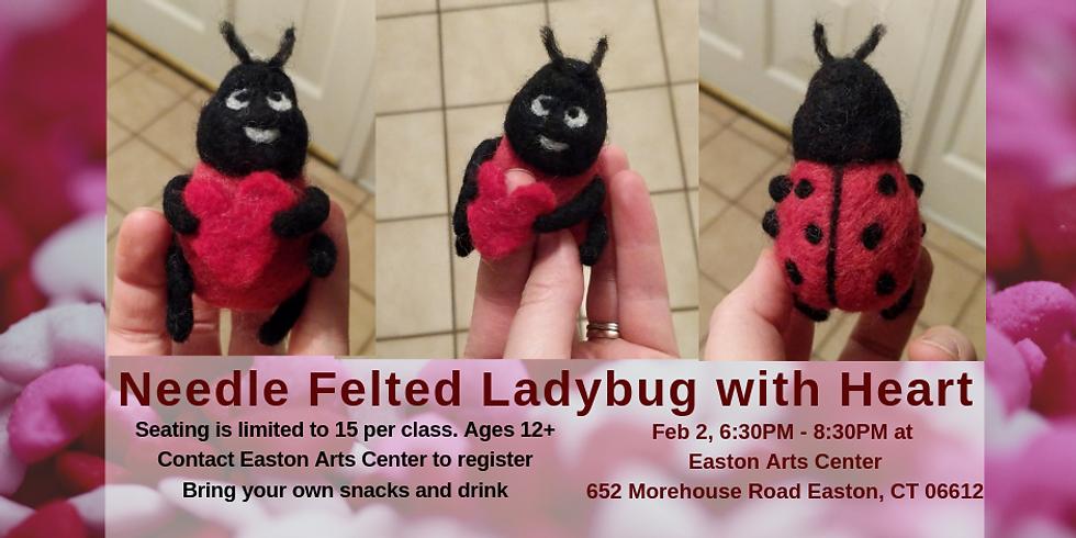 Needle Felted Ladybug With Heart